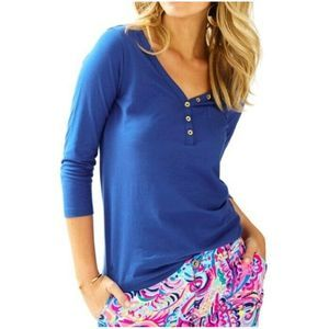 Lilly Pulitzer Blue 3/4 Sleeve Palmetto Cotton Top